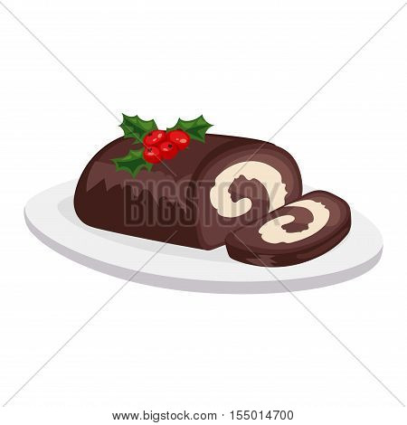 Sweet Christmas cake isolated on white. Traditional Christmas sweet cake holliday vector. Cake for New Year food sweet vector. Food fresh cake isolated