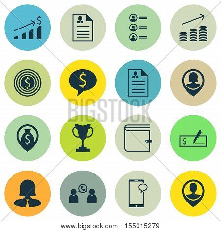 Set Of Human Resources Icons On Bank Payment, Business Deal And Job Applicants Topics. Editable Vect