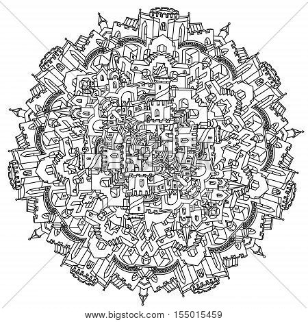 labyrinth of network of paths, houses, walls and stairs design in puzzle style of mandala shape Hand-drawn, doodle, vector, mandala style, for Adult coloring book. detailed circle symmetry composition
