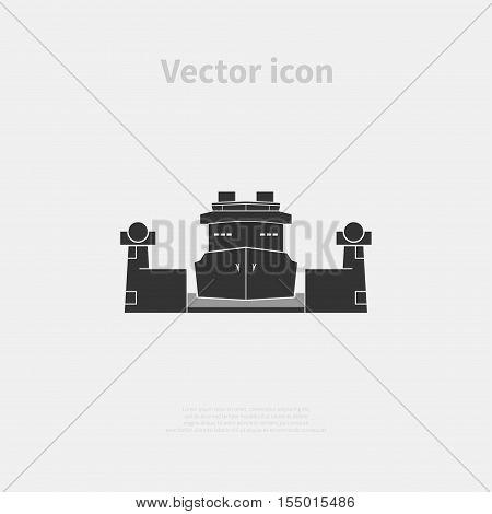 Cargo ship in the lock. Vector illustration