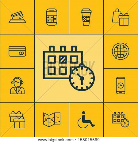 Set Of Transportation Icons On Call Duration, Present And World Topics. Editable Vector Illustration