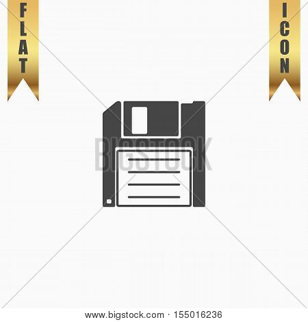 Diskette Save. Flat Icon. Vector illustration grey symbol on white background with gold ribbon