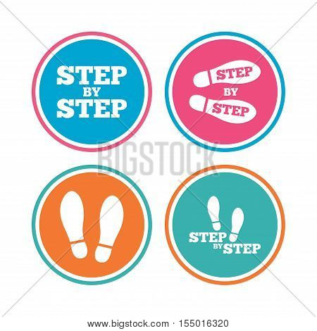 Step by step icons. Footprint shoes symbols. Instruction guide concept. Colored circle buttons. Vector