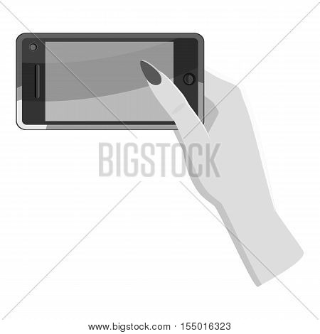 Female hand holds phone icon. Gray monochrome illustration of female hand holds phone vector icon for web