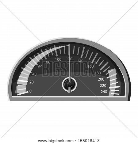 Speedometer 120 km in hour icon. Gray monochrome illustration of speedometer 120 km in hour vector icon for web