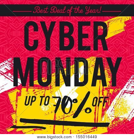 Cyber Monday sale banner on red patterned background vector illustration