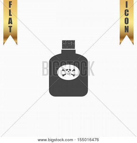 Bottle of poison. Flat Icon. Vector illustration grey symbol on white background with gold ribbon
