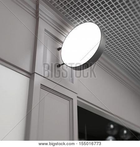 Round empty signboard mockup on blurred beige cafe fasad background.3d model illustration render.