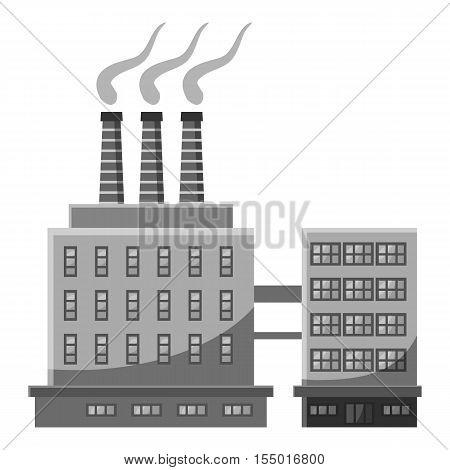 Large chemical plant icon. Gray monochrome illustration of large chemical plant vector icon for web