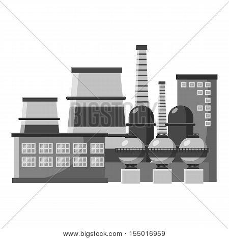 Large production plant icon. Gray monochrome illustration of large production plant vector icon for web