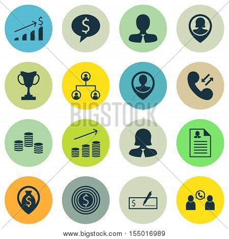 Set Of Management Icons On Phone Conference, Tree Structure And Business Woman Topics. Editable Vect