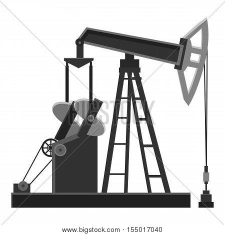 Oil rig icon. Gray monochrome illustration of oil rig vector icon for web