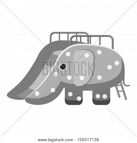 Childrens slide elephant icon. Gray monochrome illustration of childrens slide elephant vector icon for web
