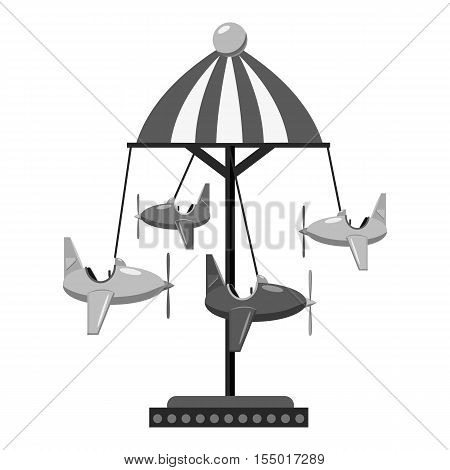 Childrens carousel with planes icon. Gray monochrome illustration of childrens carousel with planes vector icon for web