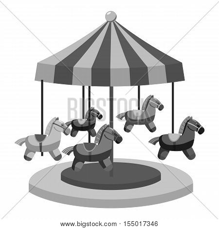 Carousel with horses icon. Gray monochrome illustration of carousel with horses vector icon for web