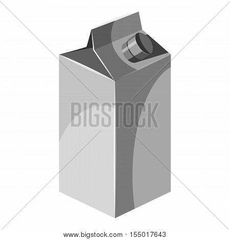 Box for juice with lid icon. Gray monochrome illustration of box for juice with lid vector icon for web