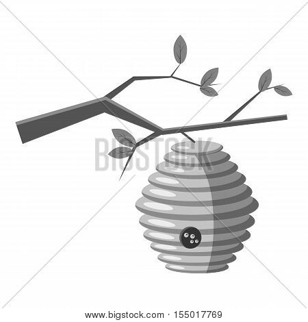 Beehive on tree icon. Gray monochrome illustration of beehive on tree vector icon for web