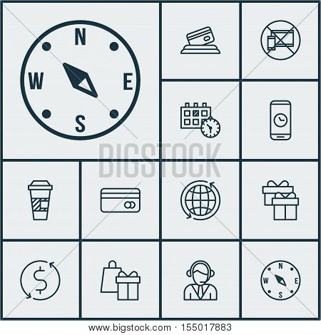 Set Of Transportation Icons On Appointment, Call Duration And World Topics. Editable Vector Illustra