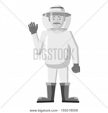 Beekeeper icon. Gray monochrome illustration of beekeeper vector icon for web