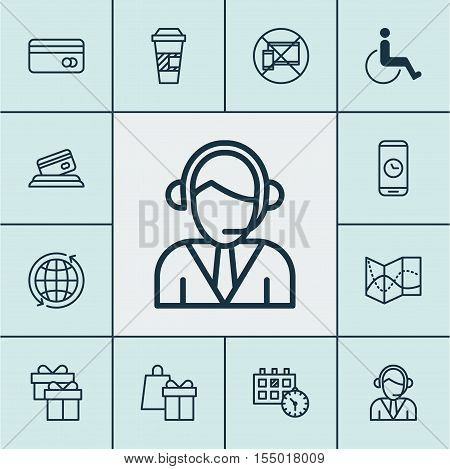 Set Of Travel Icons On Road Map, World And Operator Topics. Editable Vector Illustration. Includes T