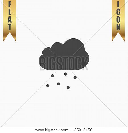 Cloud with hail. Flat Icon. Vector illustration grey symbol on white background with gold ribbon