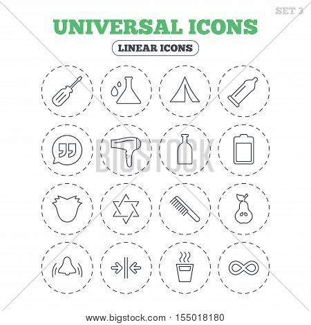 Universal icons. Camping tent, bottle and hot coffee drink. Hair dryer, battery and david star. Screwdriver tool, quotes and camping tent. Round flat buttons with linear icons. Vector