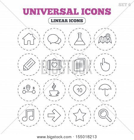 Universal icons. House building, speech bubbles and first aid box. Copy documents, like counter and hot coffee drink. Map pointer, arrow and favorite star. Round flat buttons with linear icons. Vector