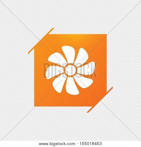 Ventilation sign icon. Ventilator symbol. Orange square label on pattern. Vector