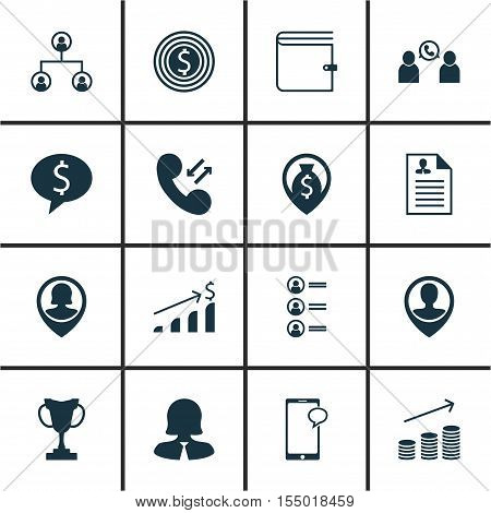 Set Of Management Icons On Coins Growth, Employee Location And Tree Structure Topics. Editable Vecto