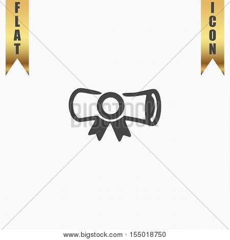 Diploma. Flat Icon. Vector illustration grey symbol on white background with gold ribbon
