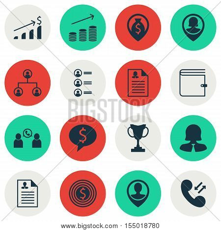 Set Of Management Icons On Job Applicants, Successful Investment And Business Woman Topics. Editable