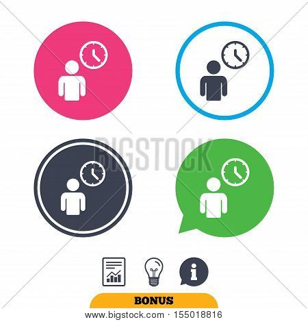 Person waiting sign icon. Time symbol. Queue. Report document, information sign and light bulb icons. Vector