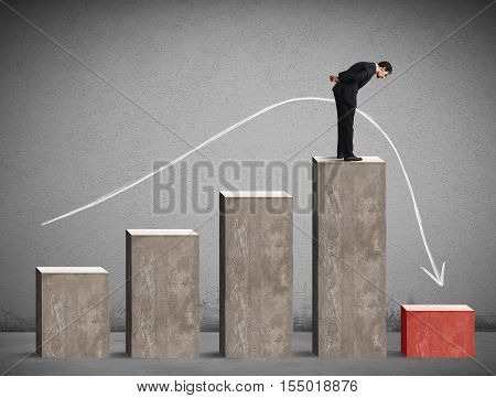 Businessman looking down the performance of statistical drastically