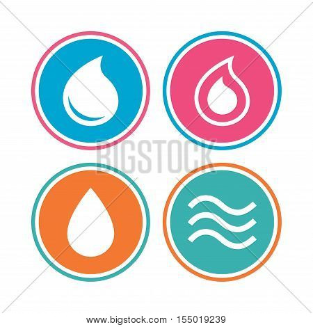 Water drop icons. Tear or Oil drop symbols. Colored circle buttons. Vector
