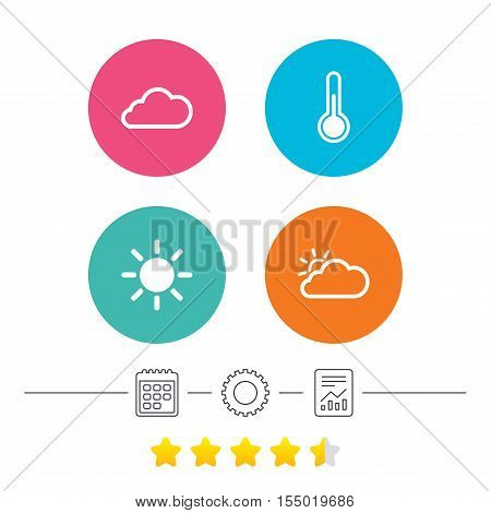Weather icons. Cloud and sun signs. Thermometer temperature symbol. Calendar, cogwheel and report linear icons. Star vote ranking. Vector