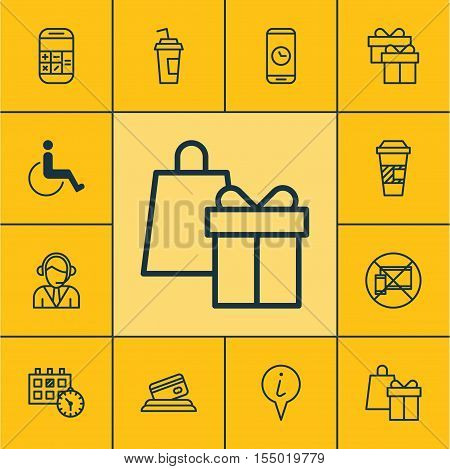 Set Of Traveling Icons On Shopping, Forbidden Mobile And Credit Card Topics. Editable Vector Illustr