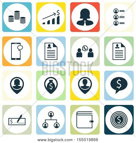 Set Of Management Icons On Phone Conference, Employee Location And Business Deal Topics. Editable Ve