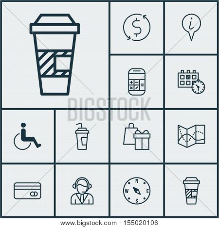Set Of Traveling Icons On Takeaway Coffee, Money Trasnfer And Drink Cup Topics. Editable Vector Illu