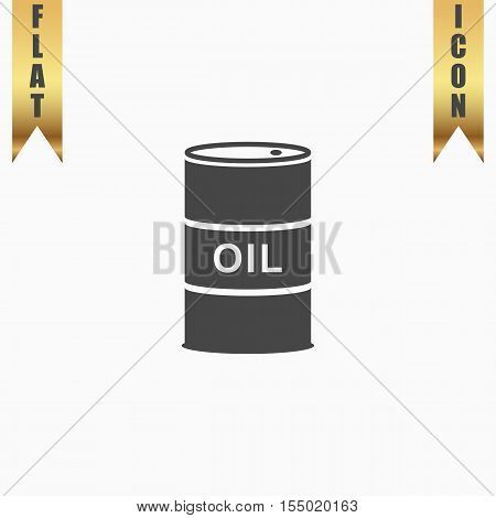 Barrels of oil. Flat Icon. Vector illustration grey symbol on white background with gold ribbon