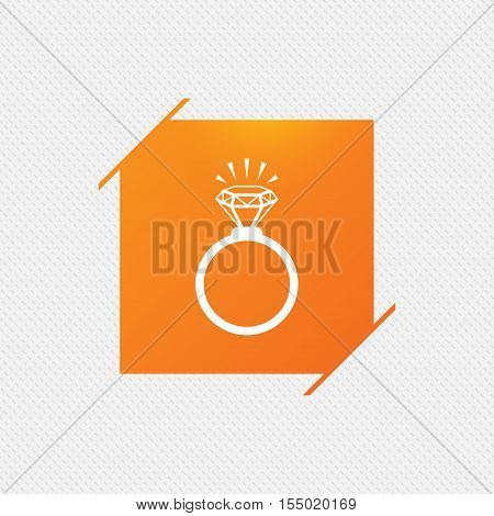 Ring sign icon. Jewelry with shine diamond symbol. Wedding or engagement day symbol. Orange square label on pattern. Vector