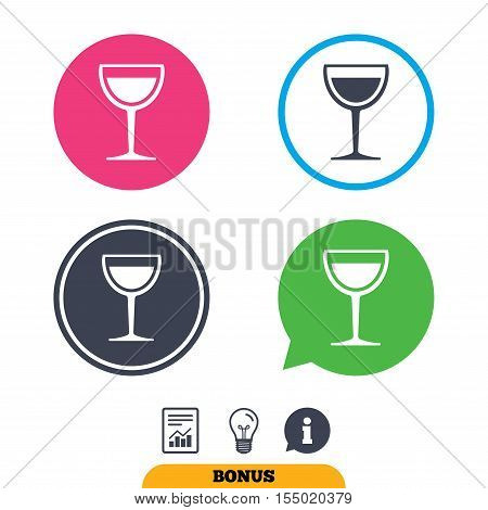 Wine glass sign icon. Alcohol drink symbol. Report document, information sign and light bulb icons. Vector
