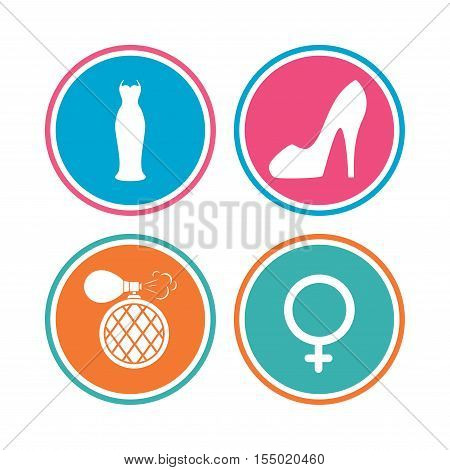 Wedding dress icon. Women shoe sign. Perfume glamour fragrance symbol. Colored circle buttons. Vector