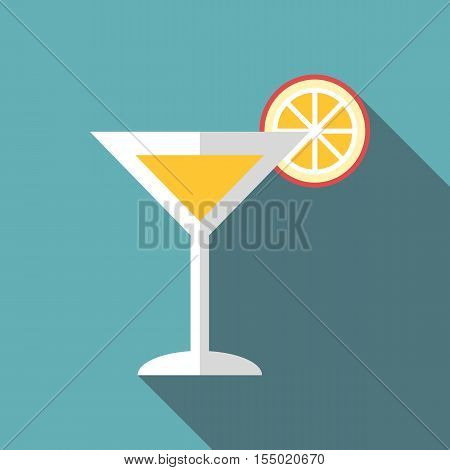Martini glass with cocktail and orange slice icon. Flat illustration of glass with cocktail and orange slice vector icon for web