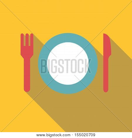 Plate with fork and knife icon. Flat illustration of plate with fork and knife vector icon for web