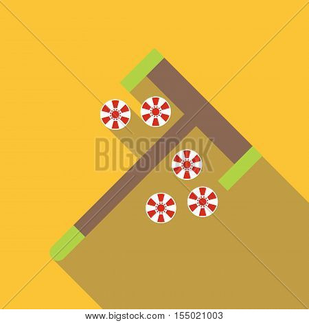 Roulette rake and chips icon. Flat illustration of roulette rake and chips vector icon for web