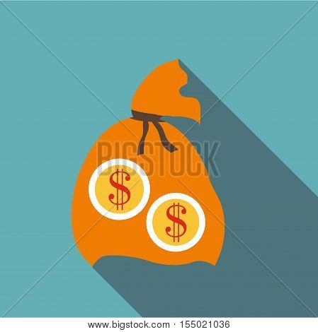 Orange money bag icon. Flat illustration of orange money bag vector icon for web