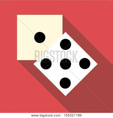 Two dice cubes icon. Flat illustration of two dice cubes vector icon for web