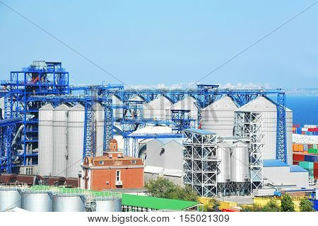 Grain dryer in the port of Odessa Ukraine