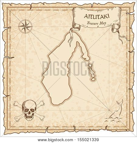 Aitutaki Old Pirate Map. Sepia Engraved Parchment Template Of Treasure Island. Stylized Manuscript O