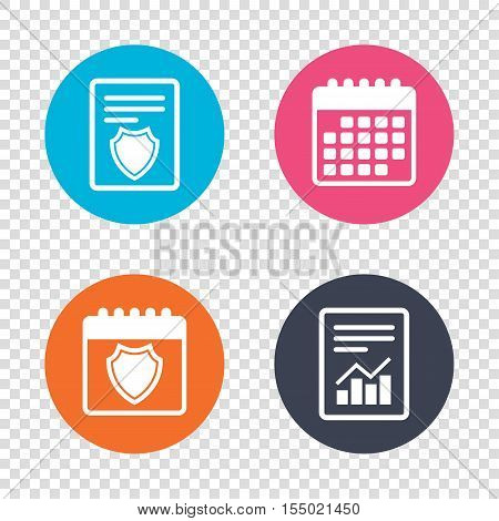 Report document, calendar icons. Shield sign icon. Protection symbol. Transparent background. Vector